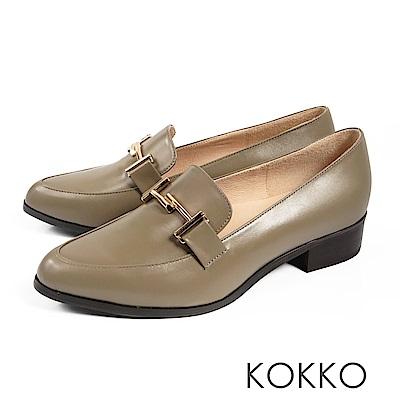 KOKKO - 薇多莉亞真皮舒壓尖頭粗跟鞋-清晨灰霧