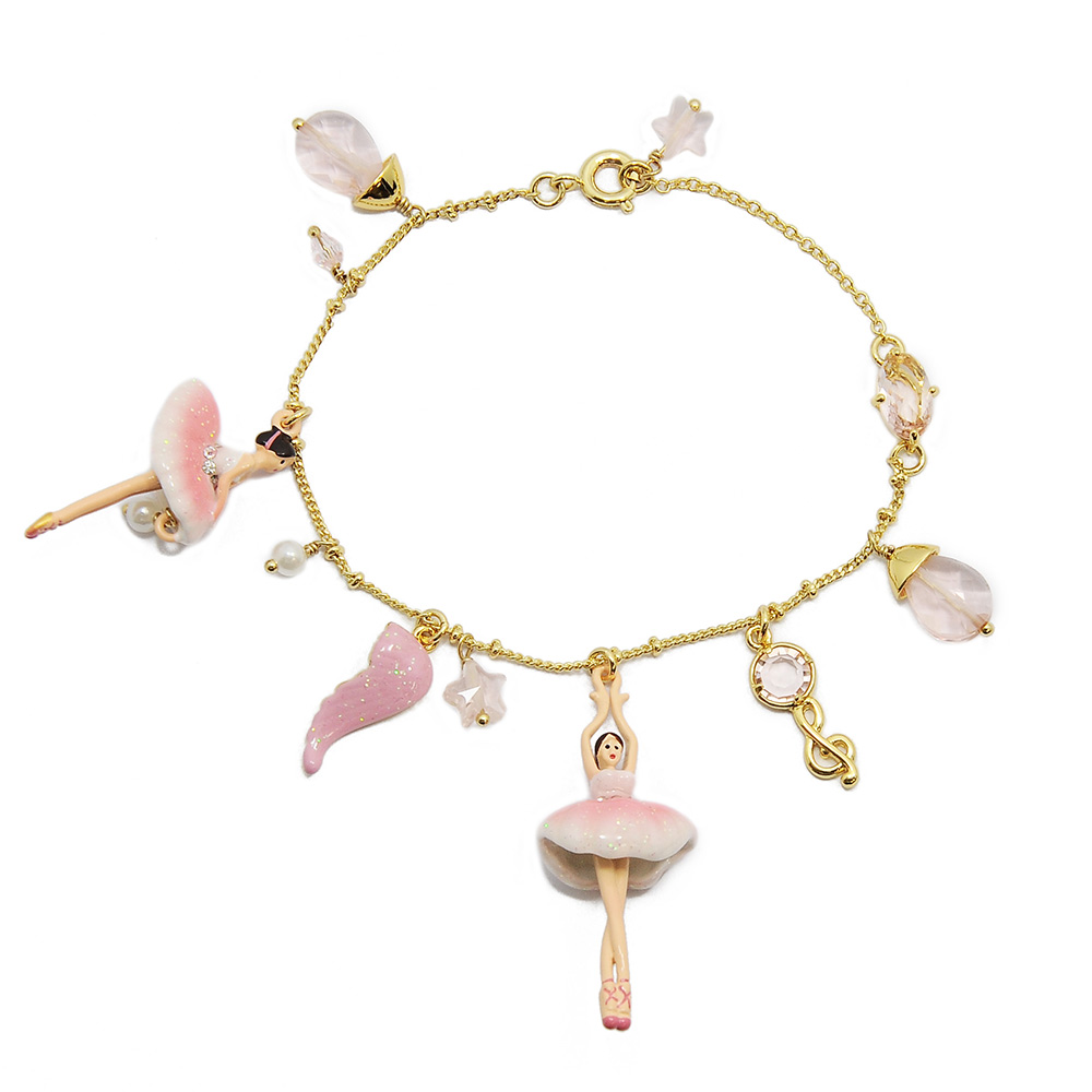 Les Nereides 優雅芭蕾舞女孩系列 粉白色女孩音符羽毛蝴蝶結手鍊