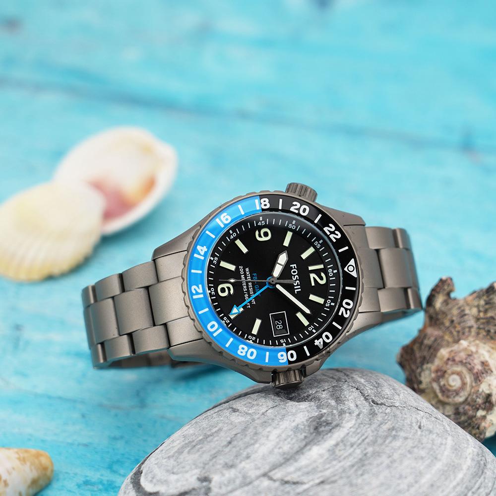 FOSSIL FB - GMT 限量鈦金屬200米潛水錶-灰/45mm LE1100