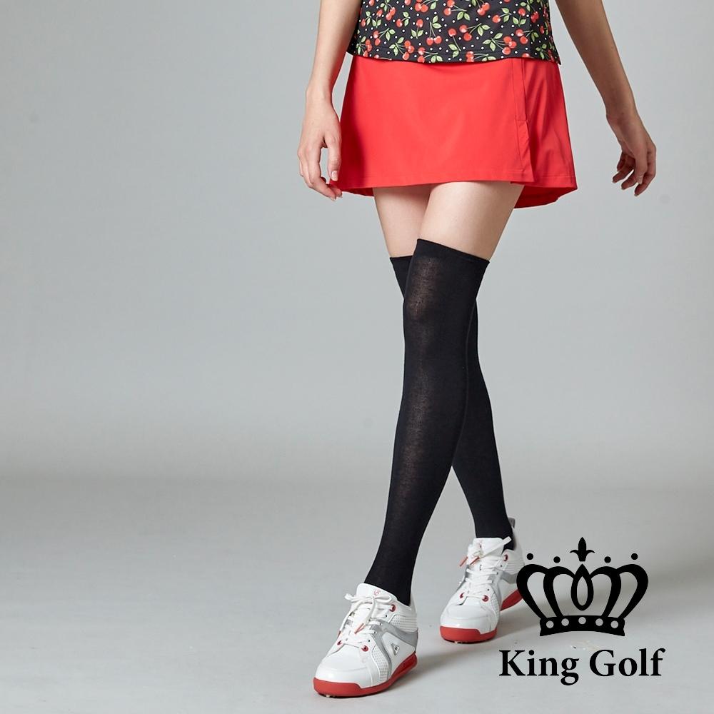 【KING GOLF】彈性修身A LINE素面短裙-紅色