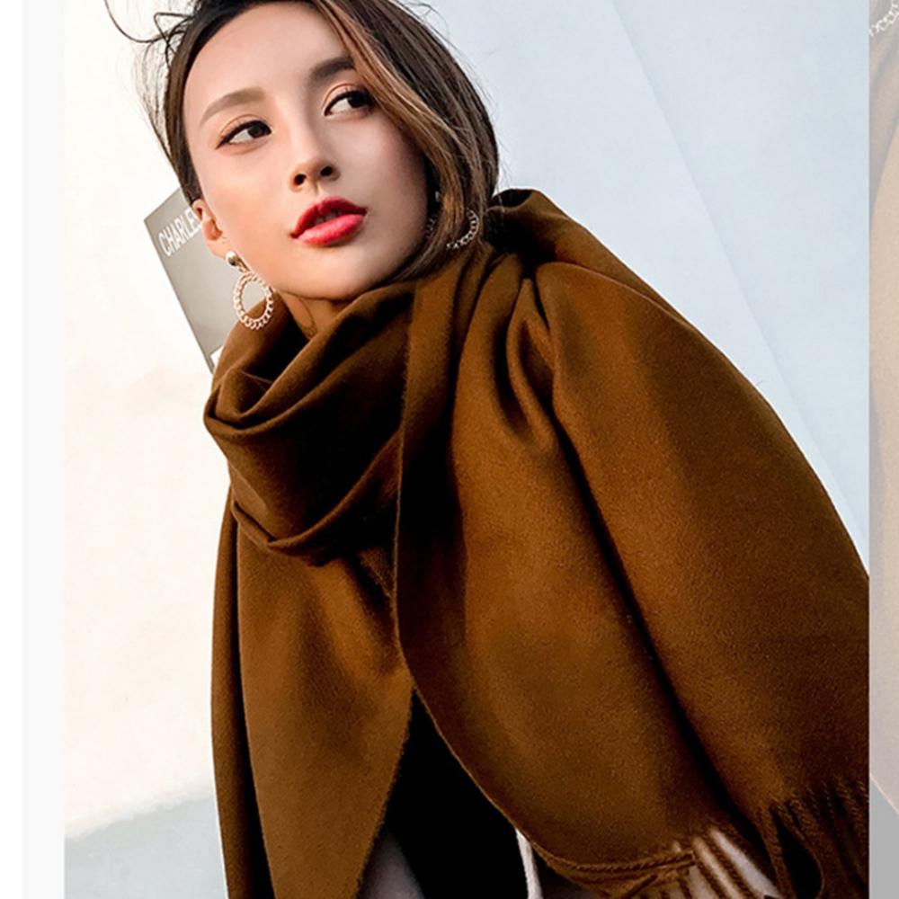 梨花HaNA 冬日極暖手感黃金絨SKY純色系列圍巾-深咖啡