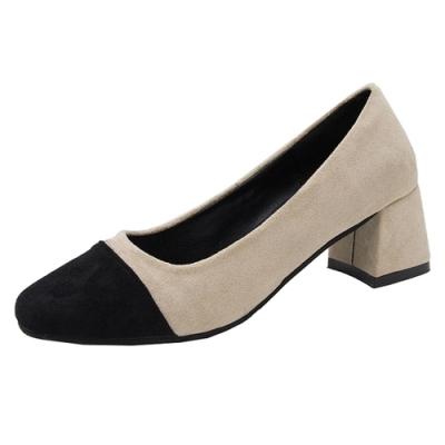 KEITH-WILL時尚鞋館 好評加碼甜美優雅拼接粗跟鞋-卡其