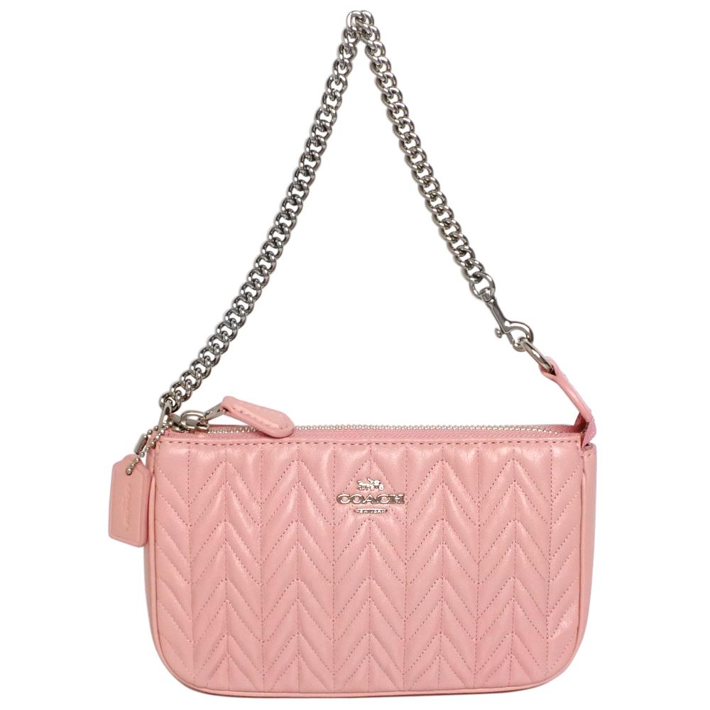 COACH粉紅葉脈紋全皮鍊帶手提掛小包