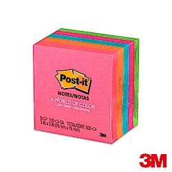 3M Post-it利貼 螢光便條紙混色5本入