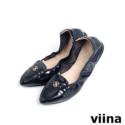 viina 尖頭織帶小LOGO摺疊鞋MIT-深藍