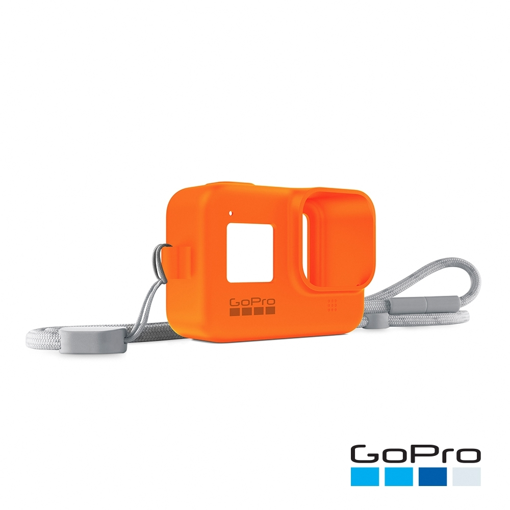GoPro-HERO8 Black專用矽膠護套+繫繩-熔岩橘AJSST-004