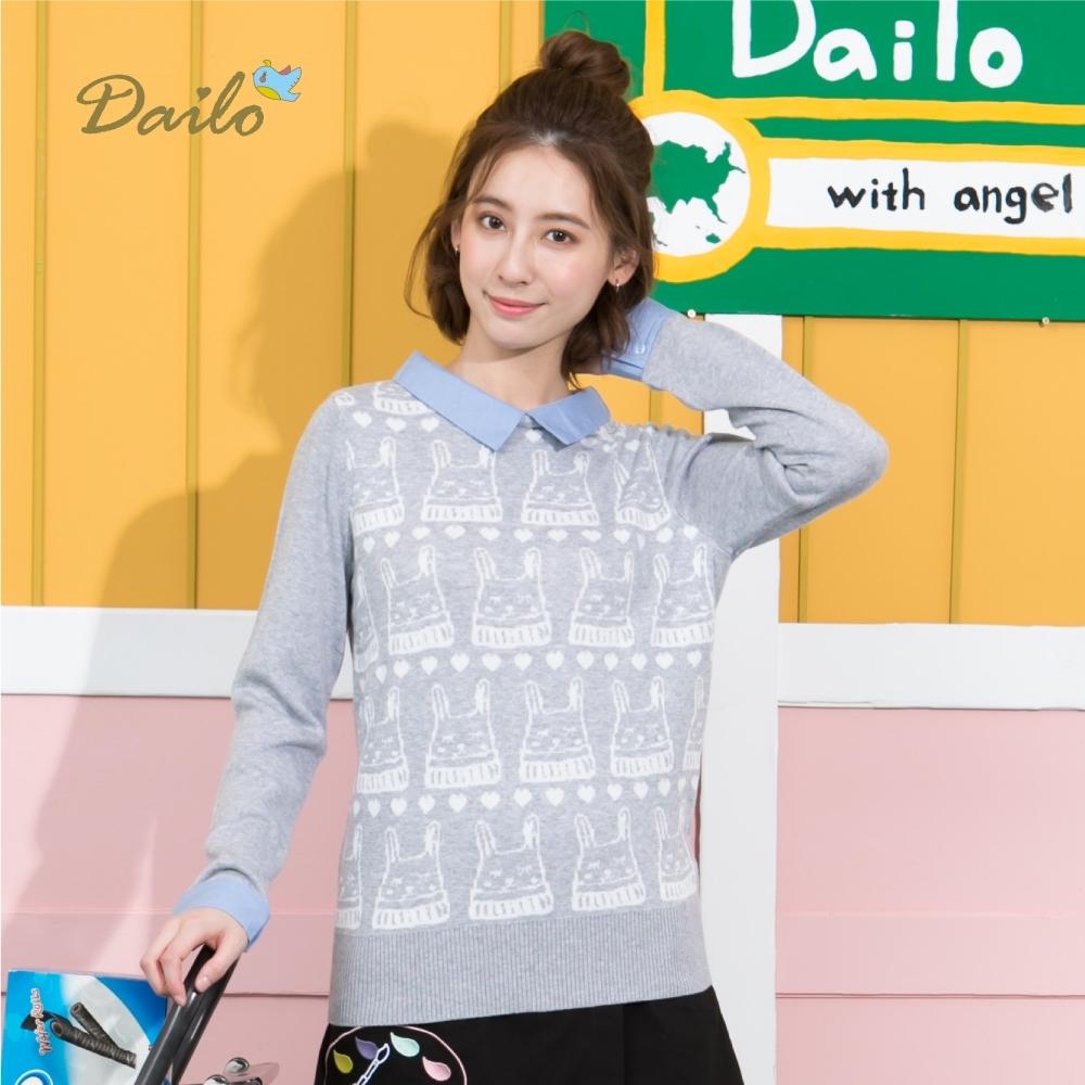 【Dailo】假兩件兔子圖案長袖-針織衫(三色)