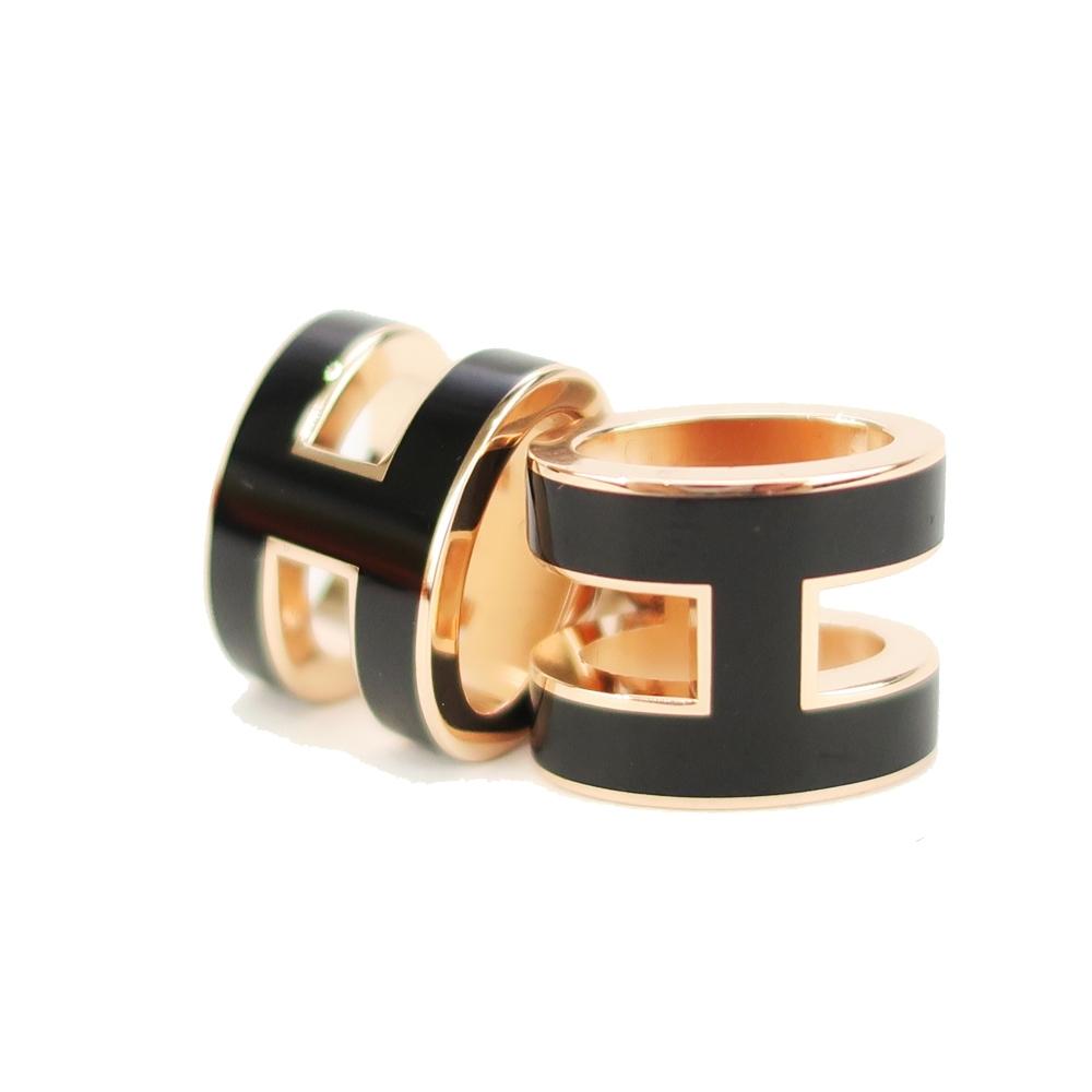 HERMES Pop 經典圓弧設計耳環(玫瑰金x黑色)