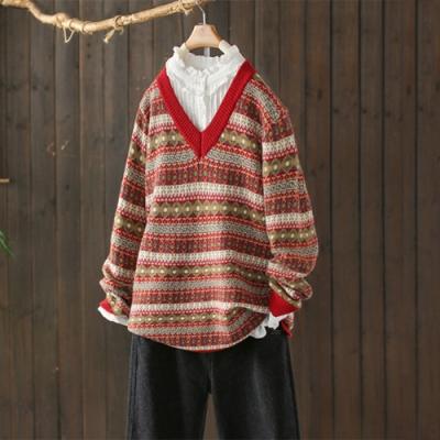 條紋螺紋V領撞色毛衣加厚寬鬆保暖針織衫-設計所在