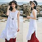 洋裝-品質刺繡繡花亞麻無袖/設計所在Q8638