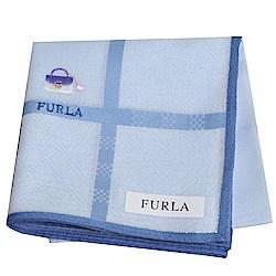 FURLA IT BAG 經典包包圖騰品牌字母LOGO帕領巾(水藍系)
