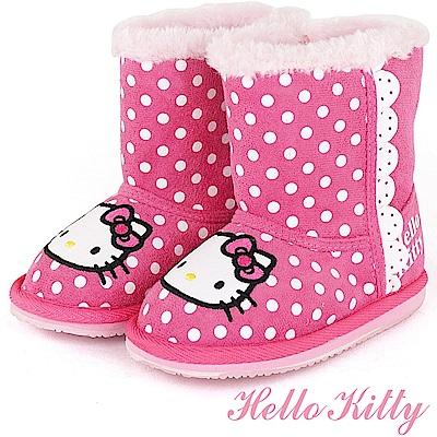 (雙11)HelloKitty 點點溫暖毛絨高筒雪靴童鞋-桃(中小童)