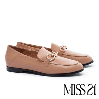 低跟鞋 MISS 21 創意幾何金屬鍊釦全真皮樂福低跟鞋-棕