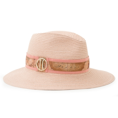 Alviero Martini 義大利地圖包 輕奢質感 經典編織草帽-粉紅色