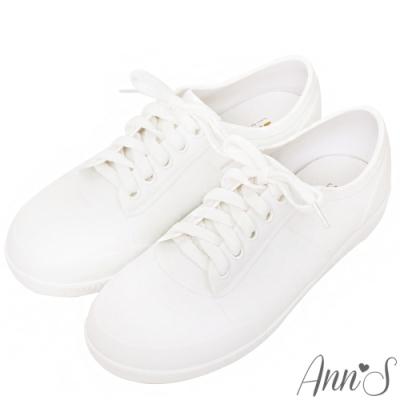 Ann'S漫雨行走-綁帶防水雨鞋小白鞋