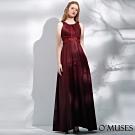 OMUSES 重工珠飾蕾絲簍空拼接緞漸層長禮服
