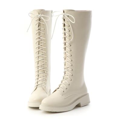 D+AF 玩酷魅力.加厚底綁帶馬汀長靴*米白