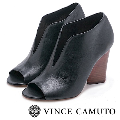 VINCE CAMUTO-真皮V字魚口高跟踝靴-黑色