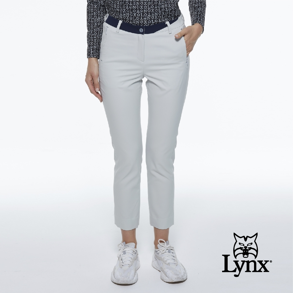 【Lynx Golf】女款瑞士3XDRY吸汗速乾防潑水隱形拉鍊口袋設計窄管運動九分褲-淺灰色