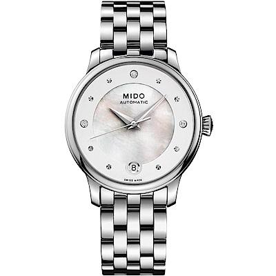 MIDO美度 BARONCELLI永恆系列晨夕鑲鑽機械女錶-銀/34mm
