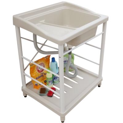 新式大型塑鋼洗衣槽 水槽 洗手台(白烤漆腳架)-1入