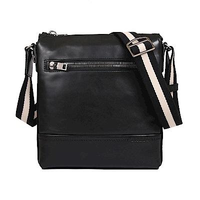 BALLY TREZZINI牛皮黑白織帶飾邊型男拉鍊斜背包(黑色)