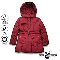 【遊遍天下】童款中長版防風防潑水90%羽絨可拆連帽外套GJ22016紅色
