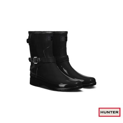 HUNTER - 女鞋-Refined可調整扣帶亮面短靴 - 黑