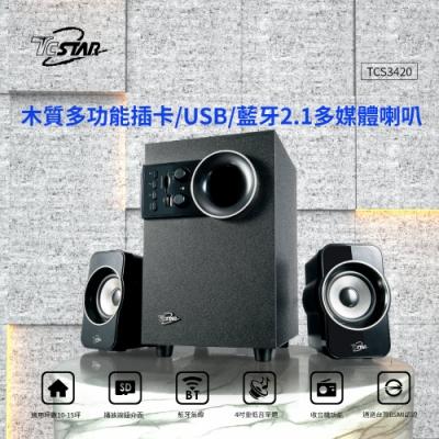 福利品 TCSTAR 可插卡/USB多功能藍牙木箱喇叭 TCS3420
