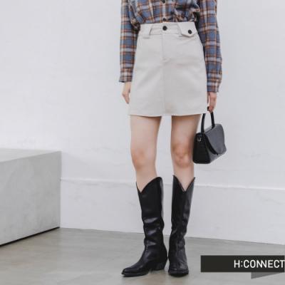 H:CONNECT 韓國品牌 女裝 -質感素面高腰短裙-卡其