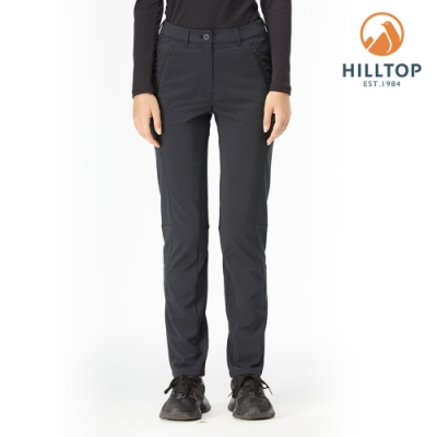 【hilltop山頂鳥】女款超潑水彈性保暖長褲H31FM8黑美人