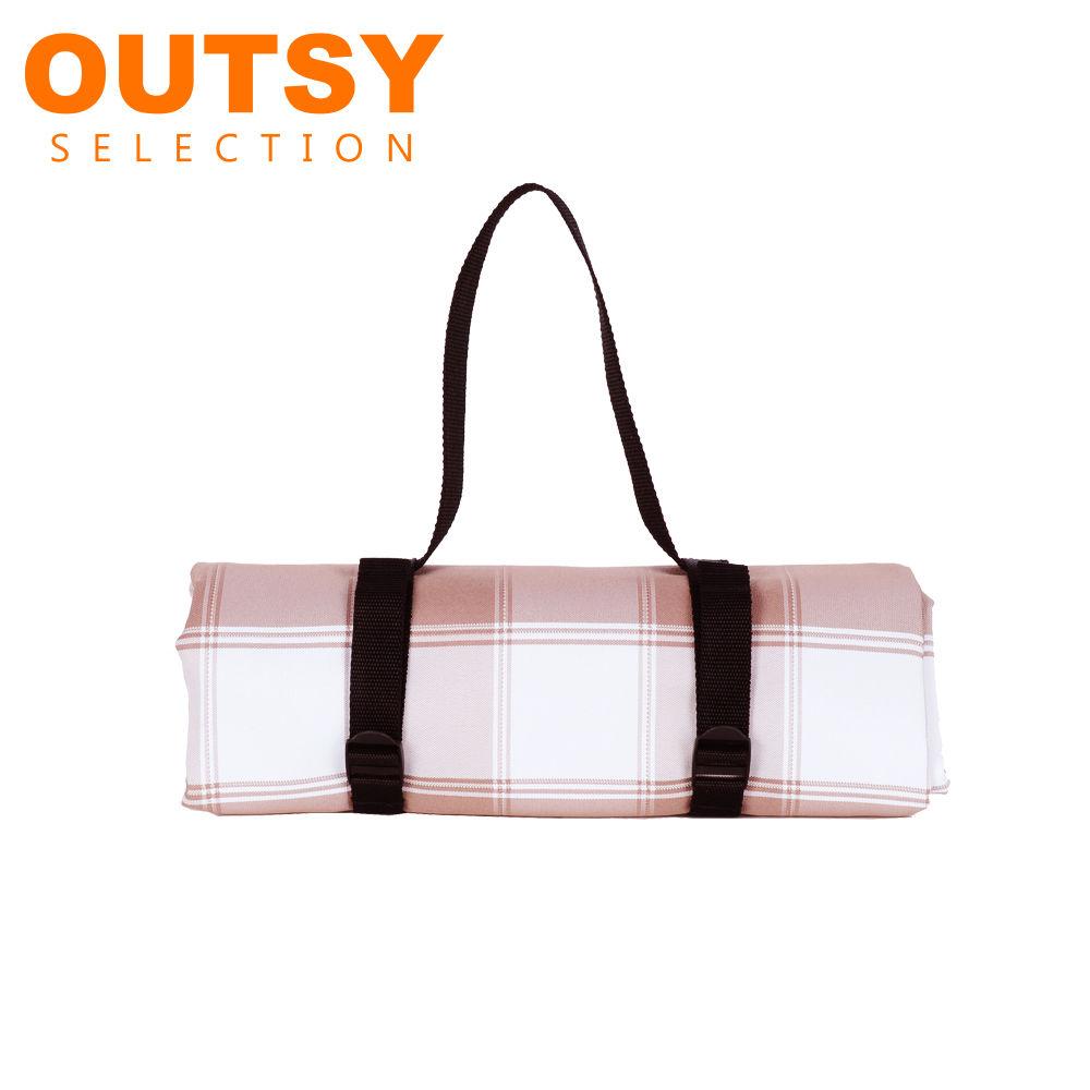 【OUTSY嚴選】戶外兩用防水桌巾/野餐墊 特大款(咖白寬格)