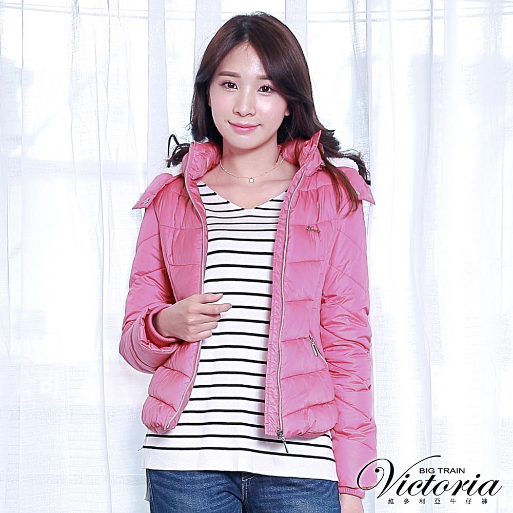Victoria 圓弧下襬絲棉外套-女-紫粉