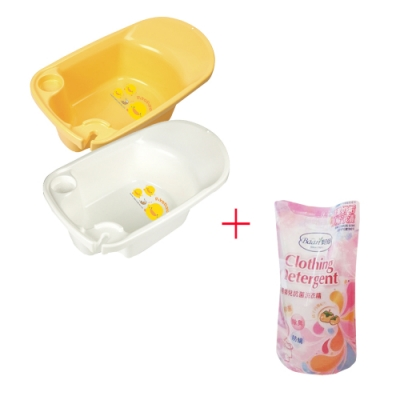 黃色小鴨新生兒多功能浴盆(白/黃)+貝恩嬰兒抗菌洗衣精補充包800ML(單包)