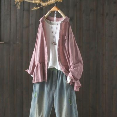 純棉刺繡拼接娃娃領襯衫寬鬆內搭長袖襯衣-設計所在
