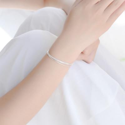 梨花HaNA 韓國925銀細緻蛇骨多層手鍊銀色