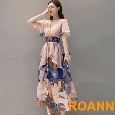 中國風交疊V領仙鶴圖紋長款洋裝 (藍花)-ROANN