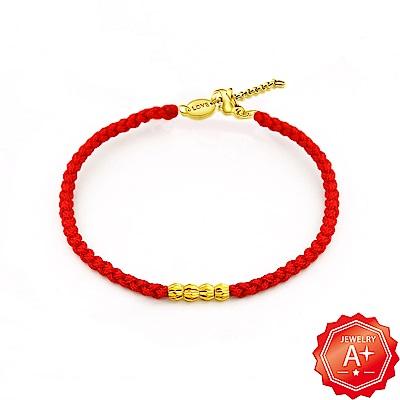 A+ 以愛為名 四季平安 千足黃金轉運珠紅繩手鍊