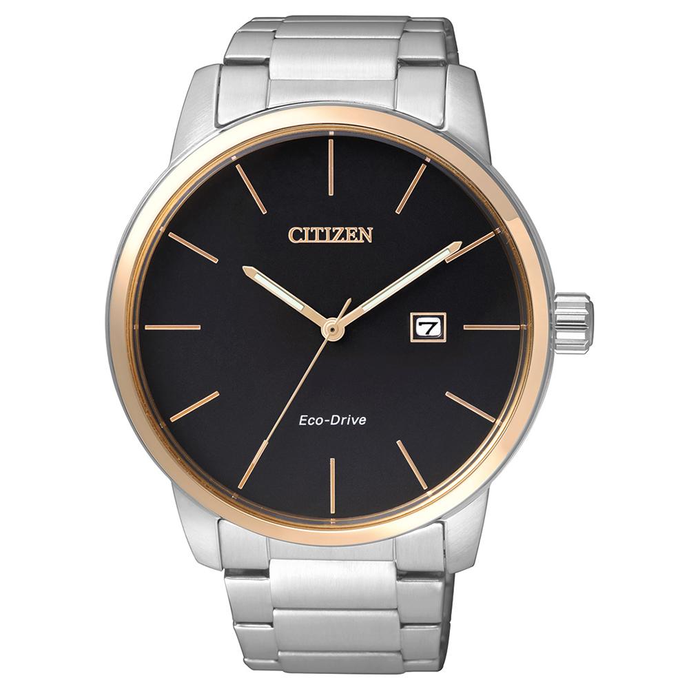 CITIZEN  沉著剛毅光動能石英腕錶(BM6964-55E)-黑/43mm