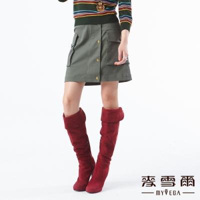 【麥雪爾】棉質口袋造型鈕扣裝飾短裙-綠