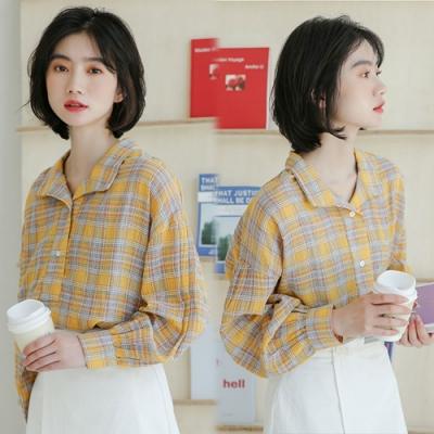 【韓國K.W.】(預購)美學經典時尚英倫格紋襯衫-2色