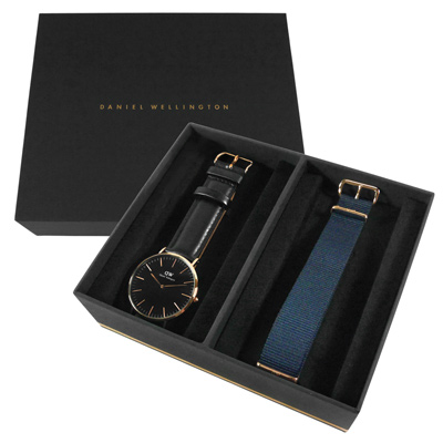 Daniel Wellington 真皮帆布手錶禮盒套組-黑x玫瑰金框/40mm