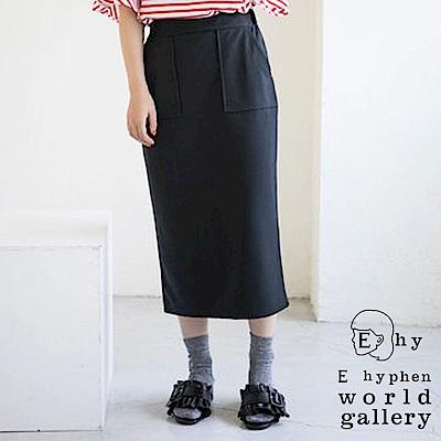 E hyphen 雙口袋修身鉛筆裙-卡其色