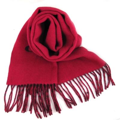 COACH 品牌大Logo紅雙色雙面羊毛流蘇圍巾(183x31cm)