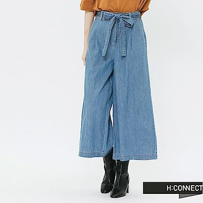 H:CONNECT 韓國品牌 女裝-綁結設計牛仔寬褲-藍