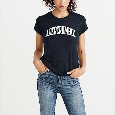 麋鹿 AF A&F 經典刺繡文字設計短袖T恤(女)-深藍色