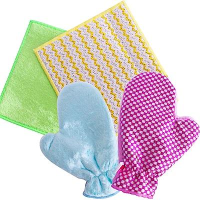 韓國熱銷犀利雙面擦巾二條+手套二個