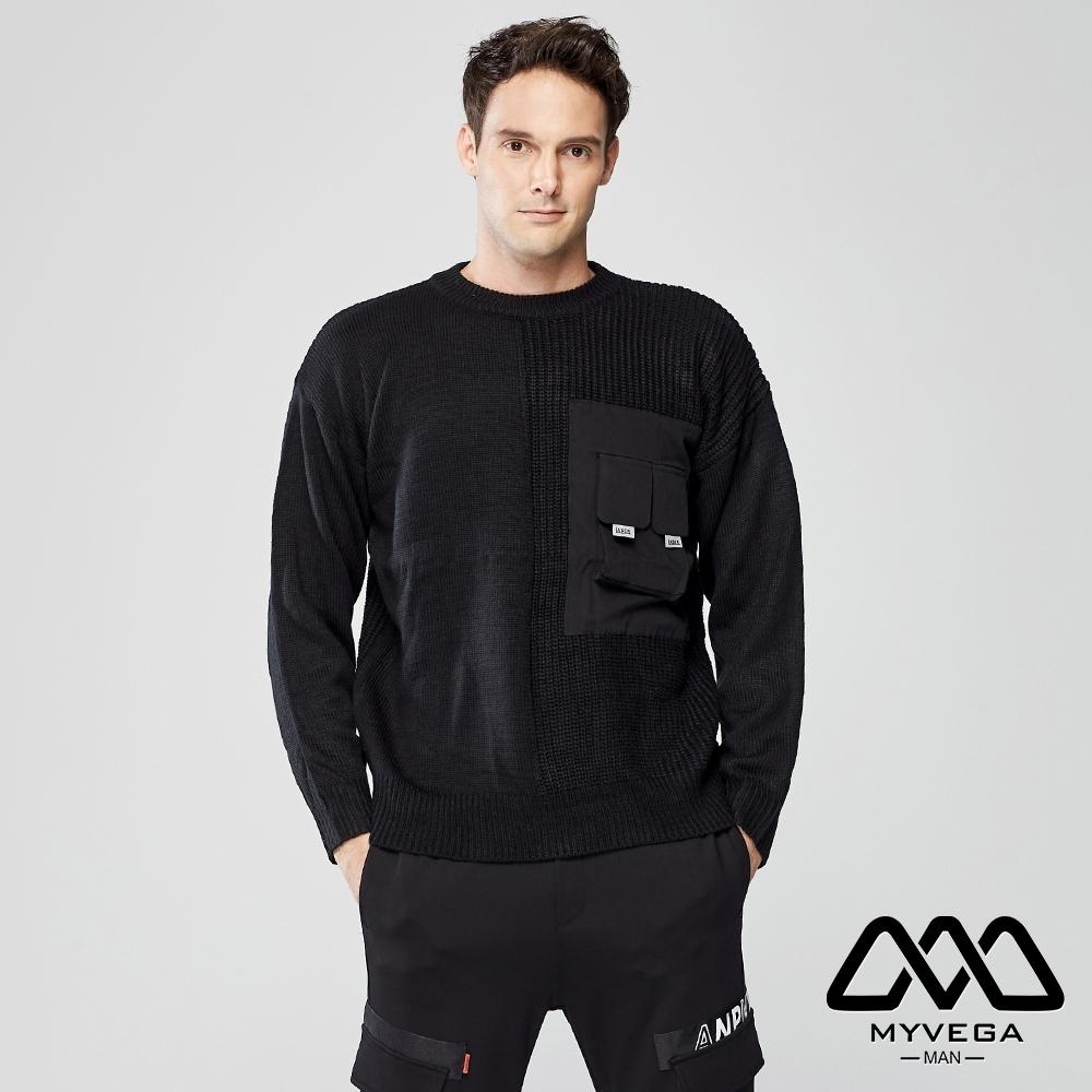 MYVEGA MAN寬鬆立體口袋針織衫-黑