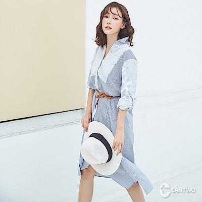 CANTWO率性條紋拼接長版襯衫-藍白條