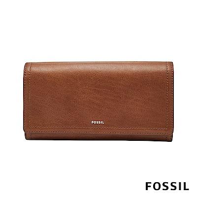 FOSSIL LOGAN 三折真皮拉鍊RFID長夾-咖啡色 SL7833200